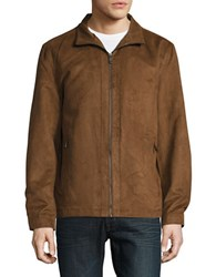 Weatherproof Perforated Faux Suede Jacket Moccasin