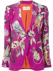 Etro Floral Print Two Button Blazer Pink And Purple