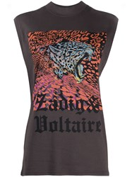 Zadig And Voltaire Sleeveless Tiger Print T Shirt Grey