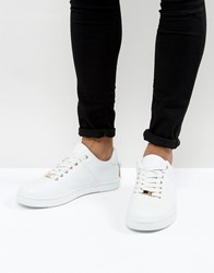 Asos Trainers In White With Back Lace And Gold Details White