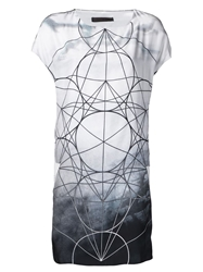 Jean Pierre Braganza Jean Pierre Braganza Geometric Print Dress Grey