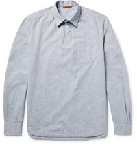 Barena Half Placket Slub Cotton Chambray Shirt Light Blue