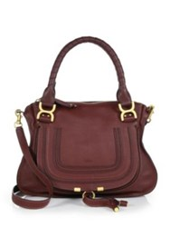 Chlo Marcie Medium Satchel Burgundy Abstract White Cashmere Grey Tan Anemone