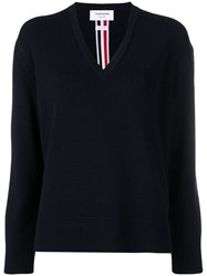 Thom Browne Intarsia Stripe Jumper Blue