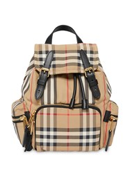 Burberry The Small Rucksack In Vintage Check And Icon Stripe Neutrals