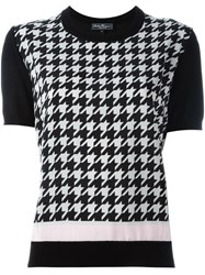 Salvatore Ferragamo Houndstooth Print T Shirt Black