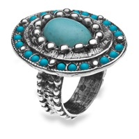 Platadepalo American Indian Turquoise Silver Ring Blue Silver