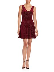Saks Fifth Avenue Velvet Burnout Skater Dress Burgundy