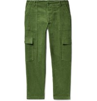 The Elder Statesman Tapered Cotton Corduroy Cargo Trousers Green