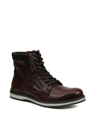 Gbx Dern Leather Lace Up And Zip Boots Burgundy