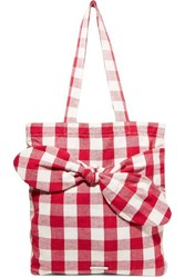 Loeffler Randall Bessie Bow Embellished Gingham Canvas Tote Red