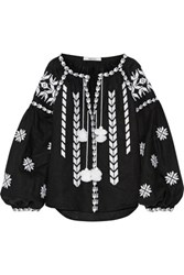 March11 Embroidered Linen Blouse Black