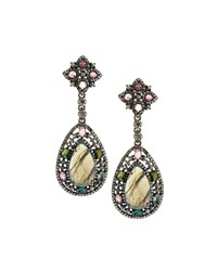 Bavna Multicolored Tourmaline Labradorite And Diamond Drop Earrings