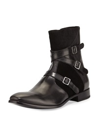 Three Strap Leather Harness Boot Black Alexander Mcqueen
