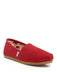 Toms Slip On Flats Classic Canvas Red