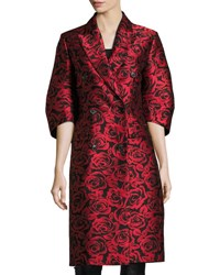 Michael Kors Rose Jacquard Ruched Sleeve Double Breasted Coat Red Black Red Black