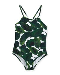 Milly Minis Palm Print One Piece Crossback Swimsuit Multi