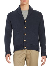 Brooks Brothers Shawl Collared Cardigan Blue