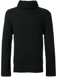 Christian Dada Turtleneck Ribbed Sweater Black