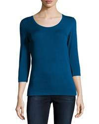 Majestic Soft Touch 3 4 Sleeve Scoop Neck Tee Fidji