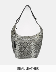 Becksondergaard Faux Snake Leather Hobo Bag Greypython
