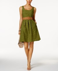Nine West Belted Burnout Fit And Flare Dress Rosemary