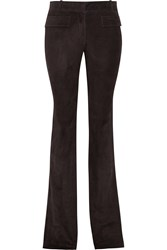 Emilio Pucci Whipstitched Suede Flared Pants Brown