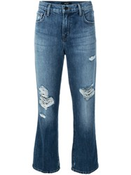J Brand Distressed Cropped Jeans Blue