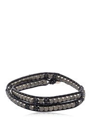 Colana Hematite And Lava Beads Wrap Bracelet Black