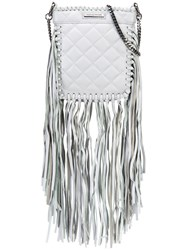 Thomas Wylde Fringed Quilted Crossbody Women Lamb Nubuck Leather One Size Grey
