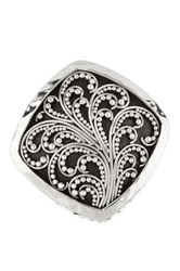 Lois Hill Sterling Silver Filigree Cutout Cocktail Ring Size 8 Metallic