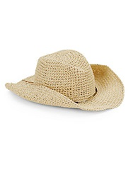 Saks Fifth Avenue Beaded String Cowboy Hat Natural