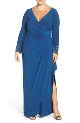 Alex Evenings Plus Size Women's Embellished Cuff Faux Wrap Jersey Gown