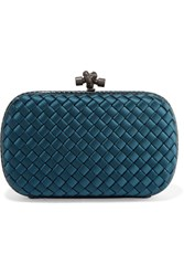 Bottega Veneta Chain Knot Watersnake Trimmed Intrecciato Satin Clutch Petrol
