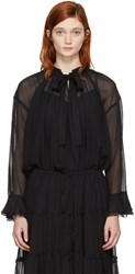 See By Chloe Black High Neck Bow Blouse