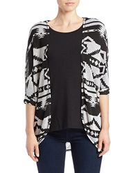 Chelsea And Theodore Tribal Open Cardigan Black White