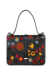Red Valentino Suede Intarsia Leather Top Handle Bag