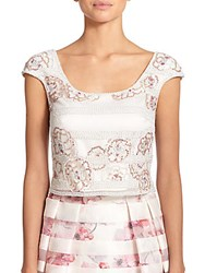 Kay Unger Striped Floral Sequin Cropped Top Ivory Multi