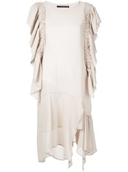 Maurizio Pecoraro Draped Dress Neutrals