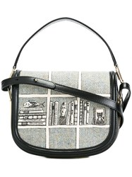 Olympia Le Tan Printed Hobo Crossbody Bag Grey