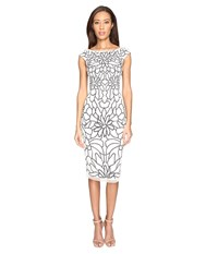 Adrianna Papell Cap Sleeve Flower Beaded Dress Ivory Black Women's Dress Multi