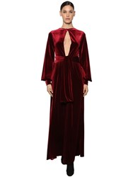 Luisa Beccaria Interchangeable Knotted Velvet Dress Bordeaux