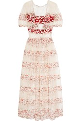 Etro Embroidered Crepe And Printed Silk Paneled Lace Gown Cream Red