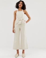 Moon River Belted Jumpsuit Cream