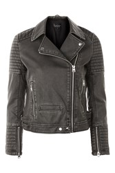 Topshop Washed Faux Leather Biker Jacket Black
