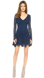 Nightcap Clothing Spanish Lace Deep V Fit And Flare Dress Midnight