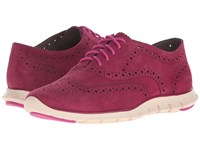 Cole Haan Zerogrand Wing Oxford Beet Red Suede Ivory Women's Shoes