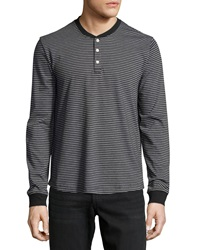 Penguin Long Sleeve Striped Henley Tee Black