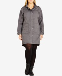 City Chic Plus Size Hooded Parka Gunmetal