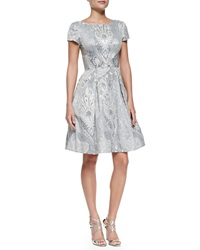 Theia Short Sleeve Baroque Print Party Dress